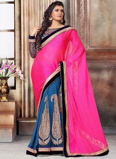 Exuberant Hot Pink Embroidered Work Net Designer Saree