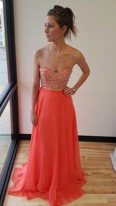 Sparkly Strapless Long Peach Prom Dress Evening Dress