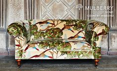 If you're longing for a touch of countryside in your modern villa, look no further than the Country Weekend Fabric Collection by Mulberry Home. Floral Upholstery Fabric, Chair Upholstery, Chair Fabric, Fabric Decor, Mulberry Fabric, Mulberry Home, Home Curtains, Sofa Styling, Made To Measure Curtains