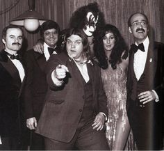 Cher with Gene Simmons and Meat Loaf, 1979.    (Source: darkgypsylady)