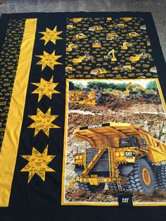 CAT heavy equipment fabric quilt top.
