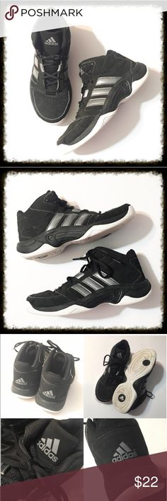 Black Adidas Hi Top Sneakers Size 6.5 Black Adidas Hi Top Sneakers. This is a nice pair of adidas hi top sneakers with gray stripes and non marking soles. They are in great condition. Adidas Shoes Sneakers