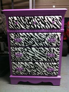 Custom Purple and ZEBRA Dresser by OwlOutfitters on Etsy, $250.00