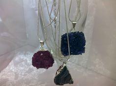 Dyed amythest druzy pendants