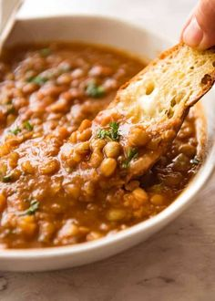 A deliciously spiced Lentil soup that is far from boring!You can find Lentil soup and more on our website.A deliciously spiced Lentil soup that is far from boring! Diet Recipes, Vegetarian Recipes, Cooking Recipes, Healthy Recipes, Vegan Vegetarian, Vegetarian Chicken, Vegetarian Barbecue, Barbecue Recipes, Healthy Soup