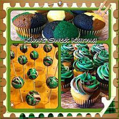 Camouflage cupcakes & cake pops. https://www.facebook.com/Kimssweetkarma