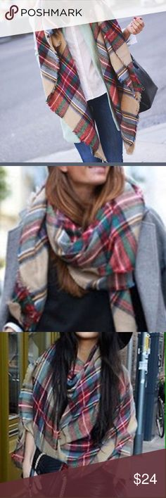 Plaid Blanket Scarf Soft and warm this scarf can be worn lots of ways. Love it ❤️ Accessories Scarves & Wraps