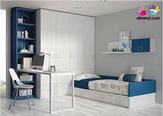Habitación Infantil: Habitación juvenil 303-102014 | Habitación Juvenil con cama nido.Los elementos que integran la presente composición son los siguie
