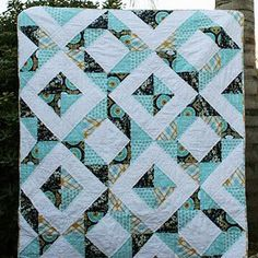 Quilt Story: HST Quilt Finish....click on the top for beginning with cutting directions and middle tutorial for putting it together.  Like for my Aviary 2 fabric!!!!  Just need the solid color