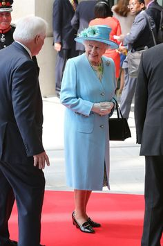HRH Queen Elizabeth II arrives to visit the new BBC Broadcasting House on 7 June 2013 in London, England.