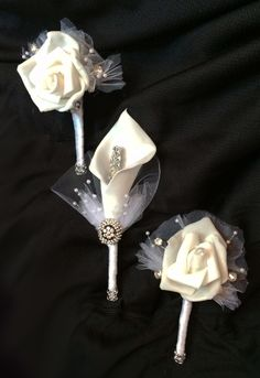 Rose Boutonniere and Calla Lily Boutonniere by Fabulous Brooch Bouquets