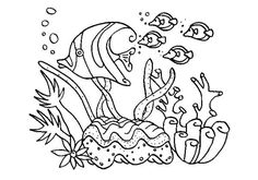 A Group of Fish in Coral Reef Sea Animals Coloring Page