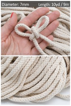 Ivory cotton rope / Color: beige Material: cotton Thickness: Length: = _________________________________________ This listing is for = of Ivory cotton rope 7 mm. When you purchase longer lengths (more than = the cord will not be cut and will be Cotton Rope, Single Piece, Ropes, Macrame, Cord, Material, Braids, Jewelry Making, Beige
