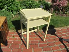 """Vintage telephone table painted """"New England Yellow"""""""