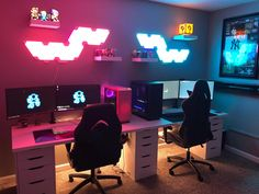 His and hers battlestations, did we do this right? : battlestations #GamingComputerDeskStyle