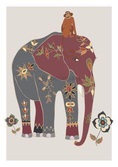 Indian elephant with a monkey friend by Piia Podersalu. #elephant art