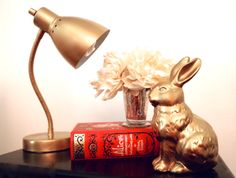 Glitter N Glue DIY Gold Spray Paint Desk Lamp. Note: Teleflora's mercury glass julep vase.