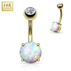 Piercing nombril Or 14 carats opale 8 mm