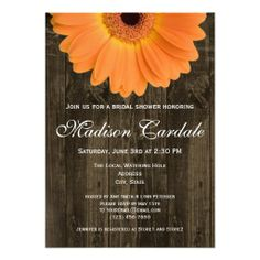 Rustic Country Barn Wood Orange Daisy Bridal Shower Invitations -- with a different color flower