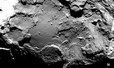 Mosaic of six OSIRIS narrow-angle camera images of the geologically diverse Imhotep region on Comet 67P/Churyumov–Gerasimenko. The mosaic comprises images taken on 3 August, 25 August and 5 September 2014 from distances of 272 km, 52 km and 43 km from the comet centre, respectively. As such, the image scale varies from 5 m/pixel to 0.8 m/pixel. Credit: ESA/Rosetta/MPS for OSIRIS Team MPS/UPD/LAM/IAA/SSO/INTA/UPM/DASP/IDA