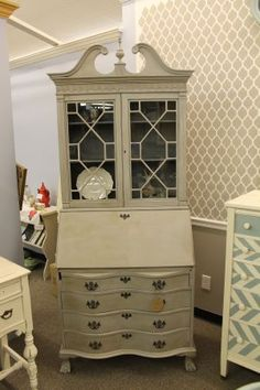 Grey Antique Secretary Desk...I like the light gray with dark gray.  For the shelf/ display in kitchen