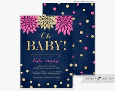 Navy & Pink Baby Shower Invitations Printed Gold by chitrap