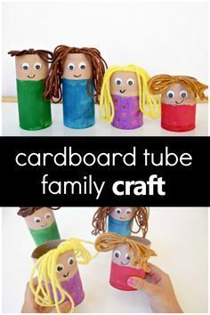 Create this cardboard tube family craft to encourage pretend play, vocabulary development, and more during your preschool family theme activities. # my family activities Cardboard Tube Family Craft - Fantastic Fun & Learning Preschool Family Theme, Preschool At Home, Family Crafts, Preschool Crafts, All About Me Preschool Theme, Family Art Projects, Kid Crafts, Easy Crafts, Kindergarten Activities