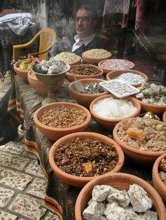 Aromatic resins in a Jerusalem market