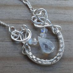 Blue Rainbow Moonstone Briolette Wire Wrapped Necklace