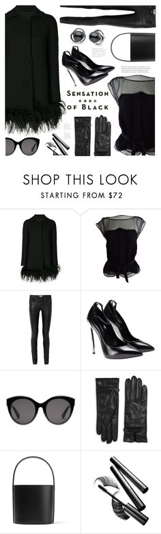 """Mission Monochrome: All-Black Outfit"" by ames-ym ❤ liked on Polyvore featuring Boutique Moschino, Louis Vuitton, Yves Saint Laurent, Vision, Gucci, Moschino, Staud, leatherpants, bucketbag and silktop"
