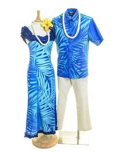 [Exclusive]Nahenahe Ruffle Long Dress [Ginger / Turqouise & Royal] - Stage Costumes - Hula Supply | AlohaOutlet SelectShop