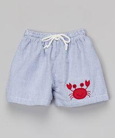 Smocked or Not Blue Stripe Crab Swim Trunks #zulily