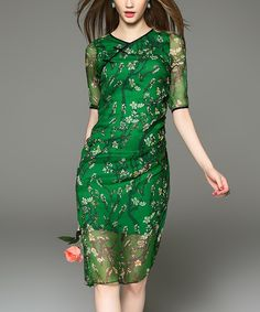 Take a look at this DDER Green Floral Semisheer Shift Dress today!