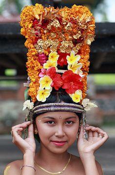 Bali. Photographer  Takero KAWABATA-Headturners board: unusual headdresses, hair with ornaments, & hats