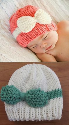 Not a loom knitting pattern but great inspiration! Twenty Something Granny: Knitted Baby Bow Hat. Looks like the bow piece needs to be a little bigger so it's fuller on the finished hat, but this is so adorable! Baby Hats Knitting, Knitting For Kids, Baby Knitting Patterns, Loom Knitting, Free Knitting, Knitting Projects, Crochet Projects, Knitted Hats, Crochet Patterns
