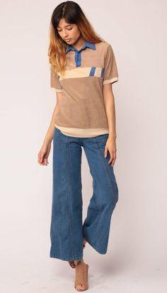 1841e861135 70s Shirt Terry Cloth Shirt Polo Half Button Up 80s Polo Tshirt Striped T  Shirt Collared Short Sleeve Geek Retro Brown Tan Medium