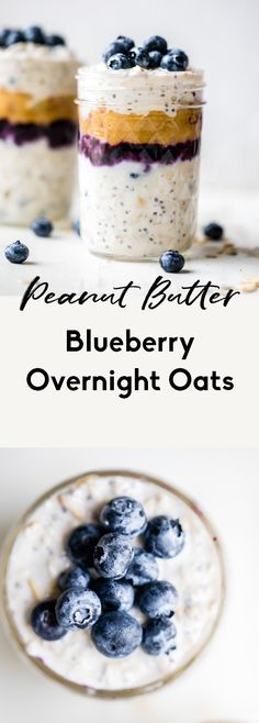 Amazing peanut butter blueberry overnight oats that taste like a classic PB&J. You'll love these healthy overnight oats for a healthy meal prep breakfast. Healthy Cookie Recipes, Oats Recipes, Banana Recipes, Healthy Baking, Healthy Sugar, Healthy Meals, Healthy Breakfast Options, Breakfast Recipes, Breakfast Ideas