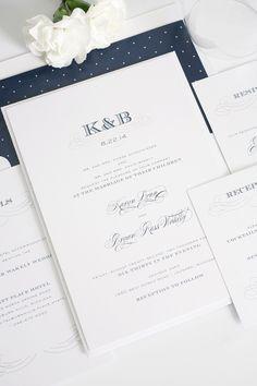 Antique wedding invitations with monogram - how cute are those polka dots? #shineweddinginvitations