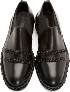 Christian Dada Black Chain Trim Western Shoes