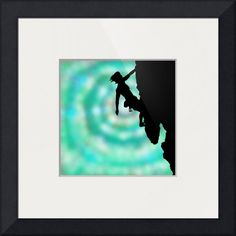 """between rock and sky"" by Jane (Jinx) Tellam, Buxton, Peak District // A woman rock climbing is silhouetted against a blue 'tie dye' effect abstract art sky, by J.M.Tellam BA (hons), created 2014, copyright Mindgoop // Imagekind.com -- Buy stunning fine art prints, framed prints and canvas prints directly from independent working artists and photographers."