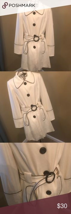Creme and Black peacoat Gently worn Jackets & Coats