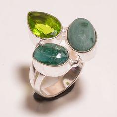 Gorgeous Emerald & Peridot .925 Silver Handmade Ring Size 6.75 Jewelry SJA773 #Handmade