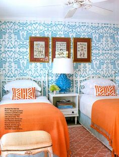 Turquoise and Orange - one of my favorite combos! #turquoise #orange #twinbeds #wallpaper