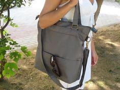 Tote cotton canvas shoulder bag in gray - laptop tote bag - shoulder bag -  cross body messenger bag - tote canvas  purse von Laroll auf Etsy https://www.etsy.com/de/listing/103541953/tote-cotton-canvas-shoulder-bag-in-gray