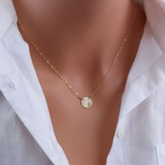 Gold Initial Necklace, Side Stamped