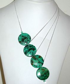 Signature Asymmetrical K ritt jewelry Necklace with African Turquoise and Sterling Silver