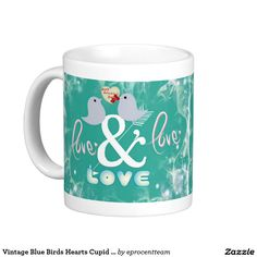 Vintage Blue Birds Hearts Cupid Love Valentine Day Classic White Coffee Mug Vintage Shops, Vintage Art, Cupid Love, Create Your Own Mug, Wedding Mugs, White Coffee Mugs, Personalized Mugs, Love Valentines, Classic White