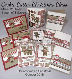 Cookie Cutter Christmas Class-To-Go Kit!  Features stamp set, 1/2 pack of Candy Cane Lane Designer Series Paper, Candy Cane Lane Baker's Twine, and supplies to create 12 cards!   See all the details at www.TooCoolStamping.com.