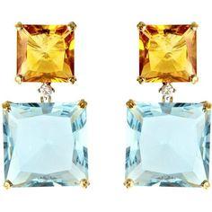 Kiki McDonough Topaz, citrine and diamond earrings (4 125 AUD) found on Polyvore featuring women's fashion, jewelry, earrings, joyas, украшения, topaz jewelry, diamond stud earrings, diamond earrings, topaz jewellery and kiki mcdonough