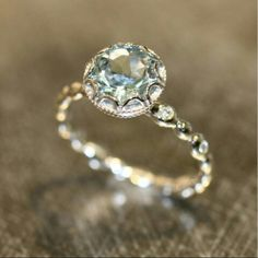 Vintage Auqamarine Engagement Ring